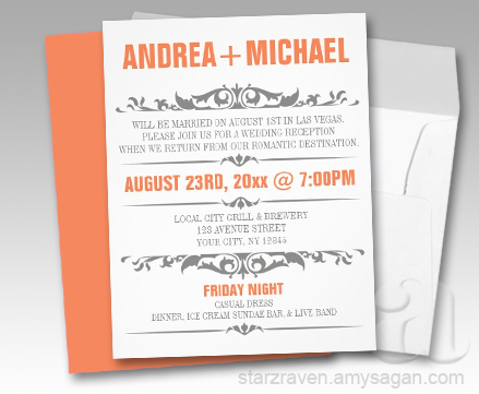 wedding reception only invitations inspira 199 195 o casamento laranja e cinza 9905
