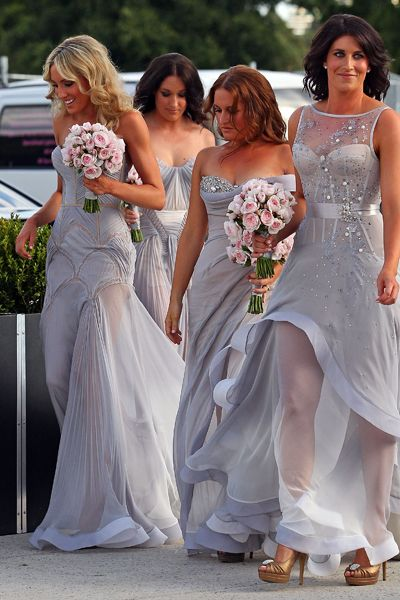 MELBOURNE, AUSTRALIA - DECEMBER 31:  Bridesmaids arrive to attend the wedding of AFL player Chris Judd and model Rebecca Twigley at Albert Park on December 31, 2010 in Melbourne, Australia.  (Photo by Scott Barbour/Getty Images) *** Local Caption *** Kate Twigley